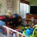 A play area in one of the resident homes.  The women and children can come together and share.